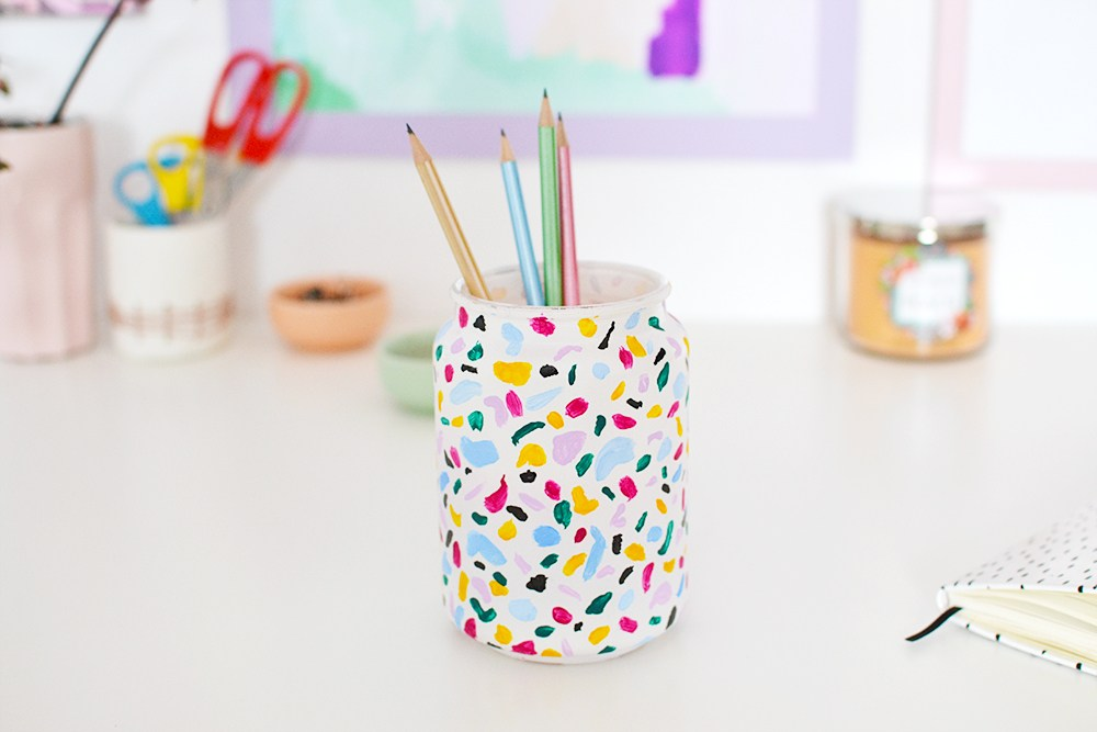 DIY terrazzo pencil holder using acrylic paints