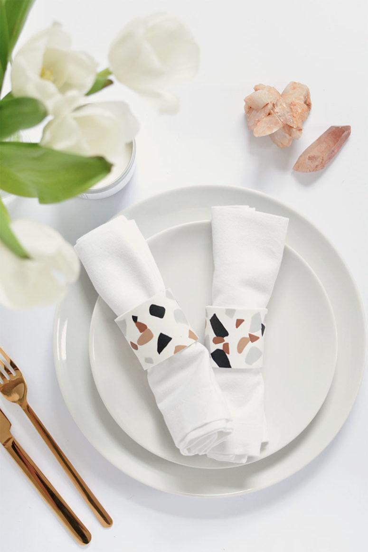 DIY faux terrazzo napkin rings (via www.burkatron.com)