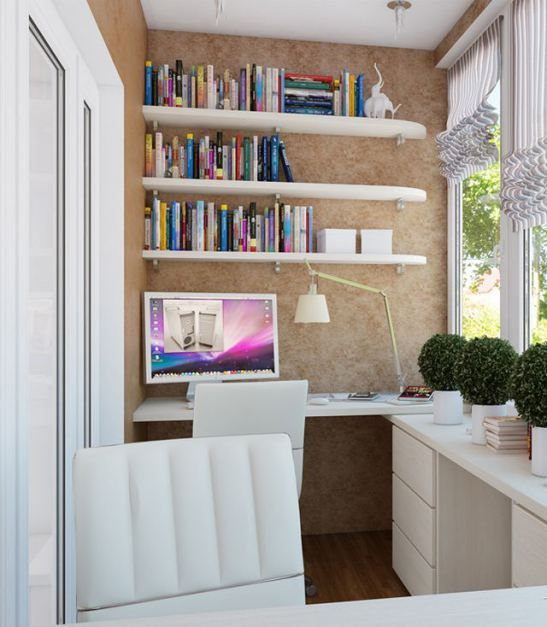 tiny cozy balcony home office