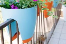 02 a smart planter design in bold colors can be put right on the railing