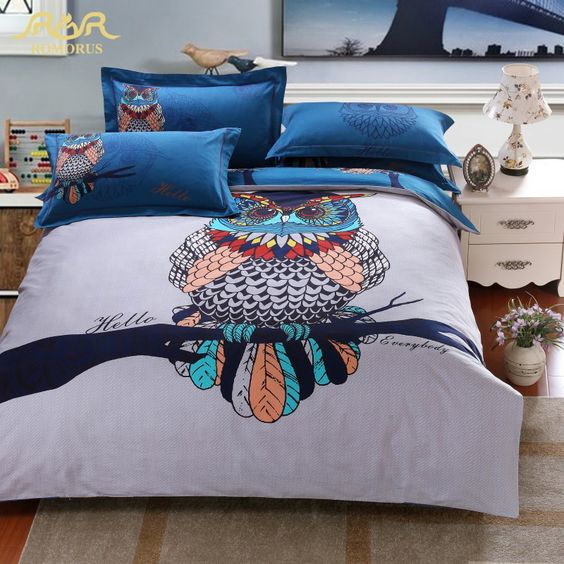 colorful owl bedding for cozy sleeping and a chic look
