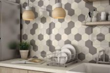 02 hexagon tiles in shades of grey and cream for a modern kitchen