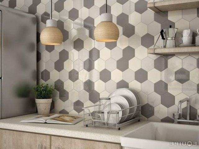 hexagon tiles in shades of grey and cream for a modern kitchen
