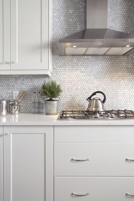 shiny silver hex tiles to make a neutral kitchen sparkle