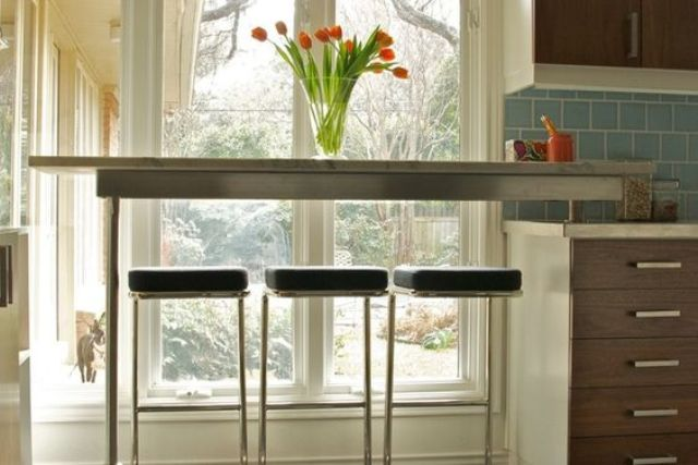 span a low window with a breakfast bar and enjoy the views while eating