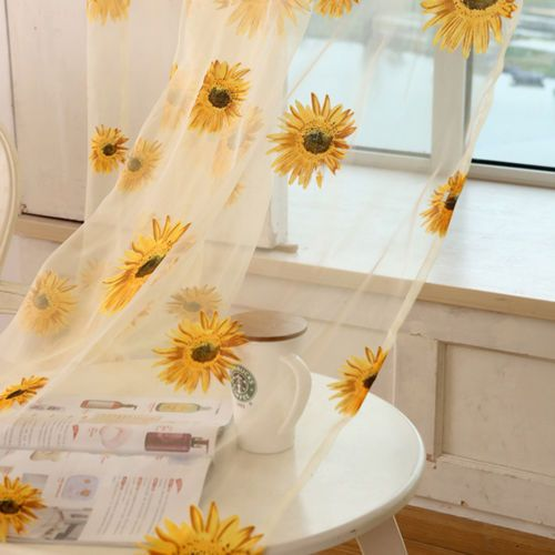 tulle sunflower curtain will add a cheerful touch to the space