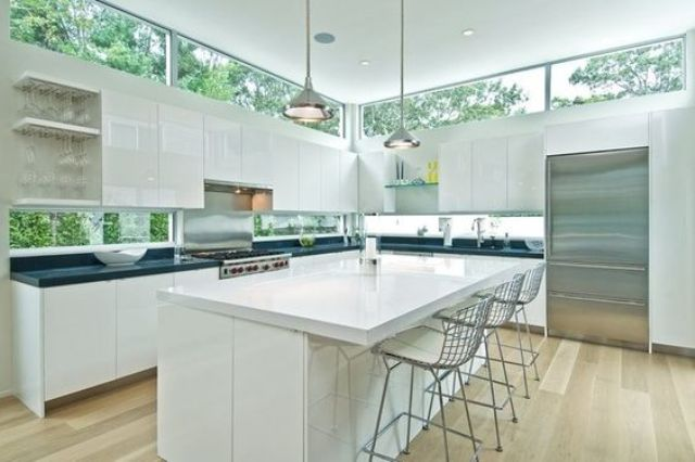 a modern backsplash with skylights over the cabinets and a narrow kitchen backsplash