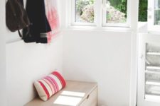 04 a simple wooden storage bench is a perfect solution for a tight space