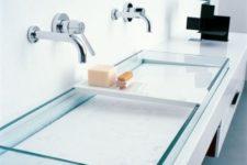 04 semirecessed rectangular washbasins, made in plate glass