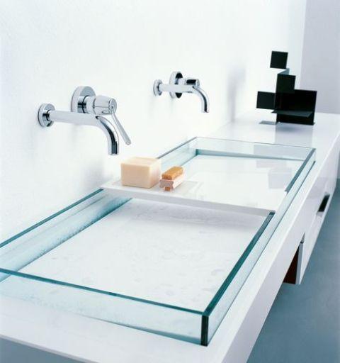 semirecessed rectangular washbasins, made in plate glass