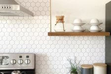 04 small hexagon tiles make a cool modern touch in the kitchen