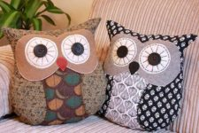 05 felt owl pillows will add coziness to your living room and your kids will love them