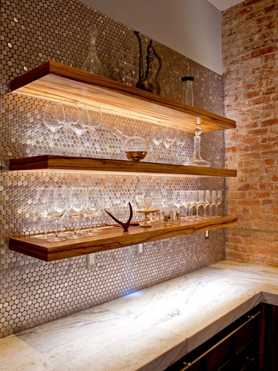 shiny copper hexagon tiles for a gorgeous glam kitchen backsplash