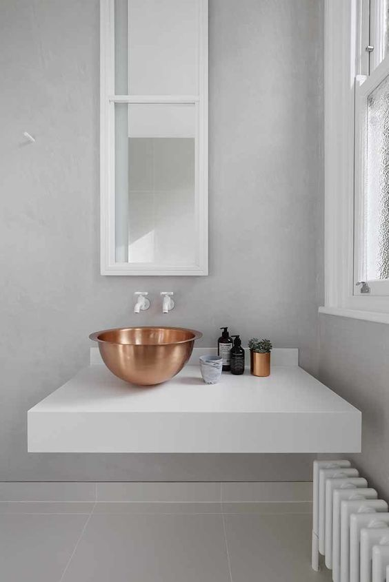 a copper bowl sink for a modern space, copper is one of the hottest decor trends