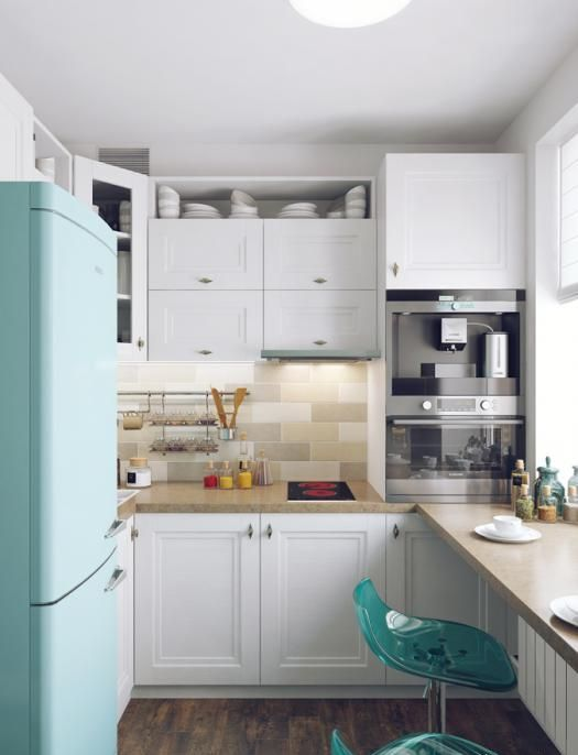 a mini modern kitchen with a windowsill meal zone and a turquoise stool