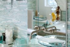 06 aqua stained plain glass sink for a sea-inspired bathroom