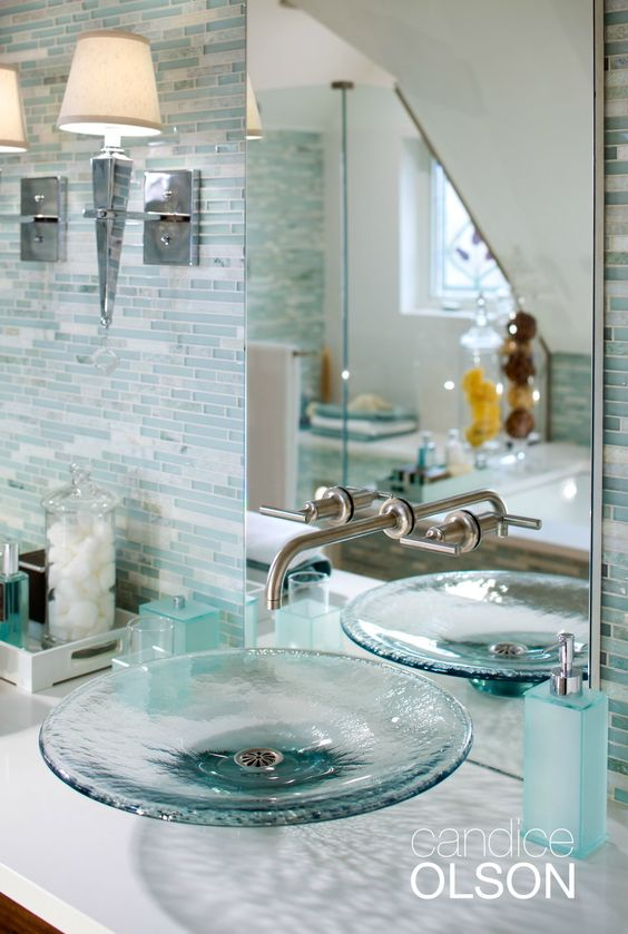 Cute aqua stained plain glass sink for a sea inspired bathroom