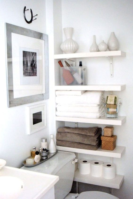 Ideal open shelves in the bathroom are a great idea even for the tiniest space