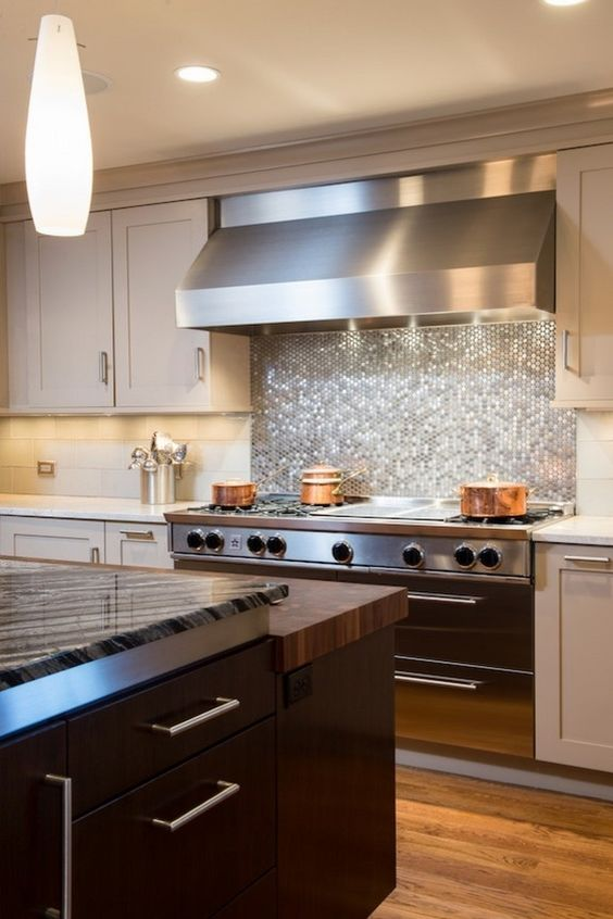 Shiny Silver Hex Tile Backsplash To Accentuate The Cooker Zone