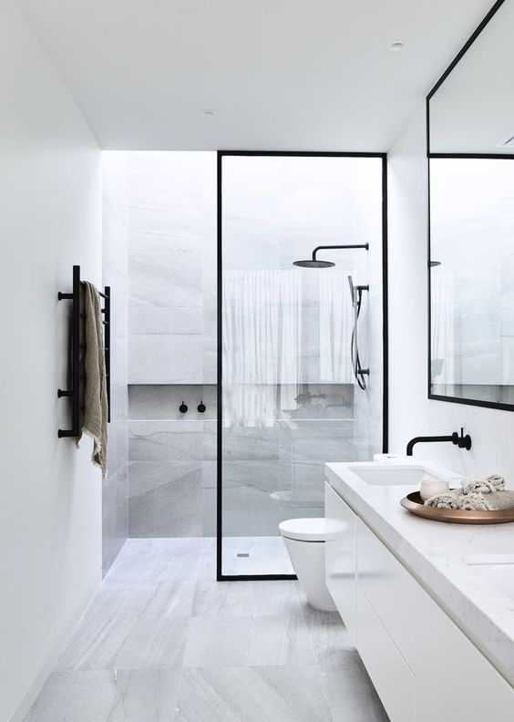 skylights over the shower zone make it fresher and more inviting
