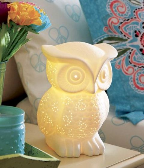a perforated owl shaped owl lamp will be a cute companion for a kid
