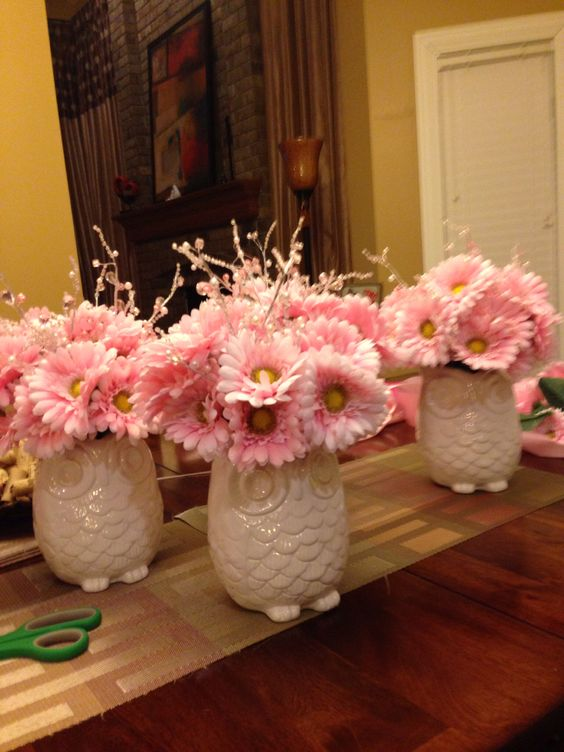 Baby Shower Centerpiece Of White Owl Vases And Pink Blooms