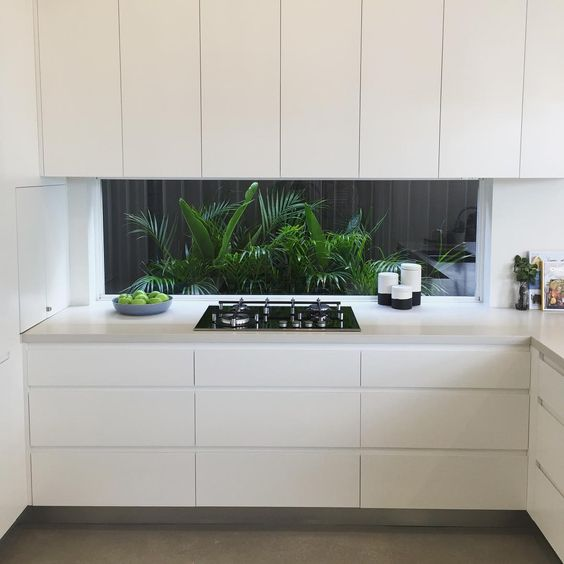 creamy minimalist cabinets with no handles give viws of a tropical backyard with much greenery