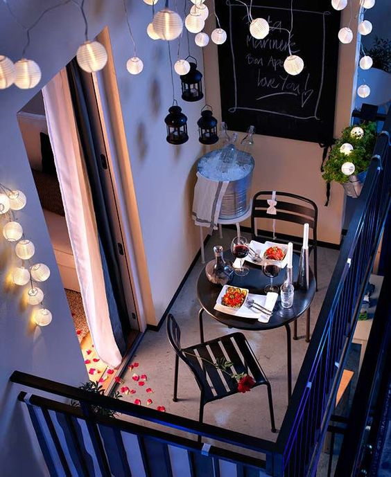 hang vertical paper lantern strings over your balcony to light it up