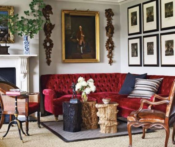 make your space even more refined with an exquisite red velvet sofa on chic legs