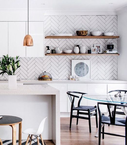 White Herringbone Tile Backsplash Adds A Contemporary Feel To The Kitchen