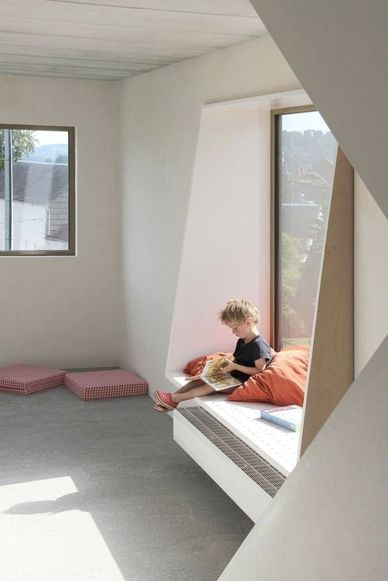your kids can use low window sills as seats or day beds