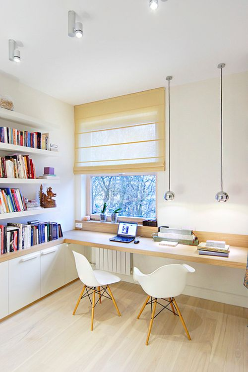 a narrow windowsill can be used as a workspace, add open shelving for books