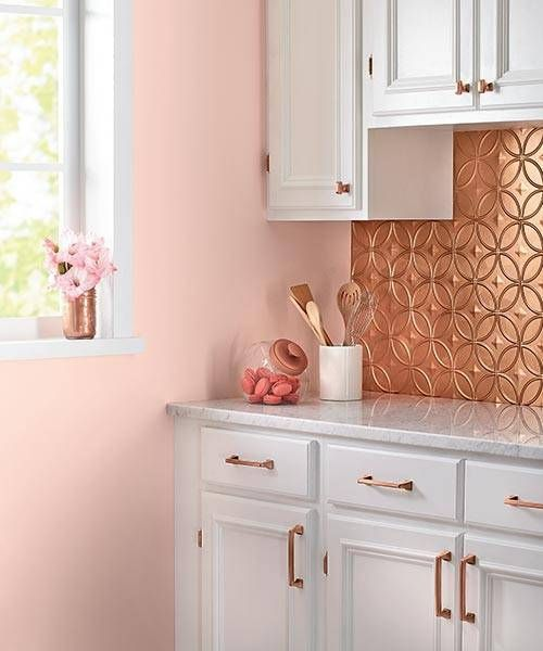 pressed tin copper tiles and matching handles for a cute glam feel