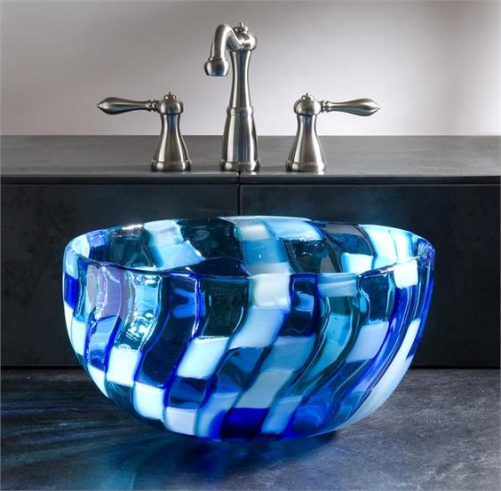 a blue mosaic glass sink looks really spectacular and eye catchy