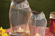 10 vintage owl-shaped candle lanterns can be used both indoors and outdoors