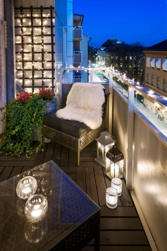 cover the balcony with LED lights to give it a holiday and just cozy feel