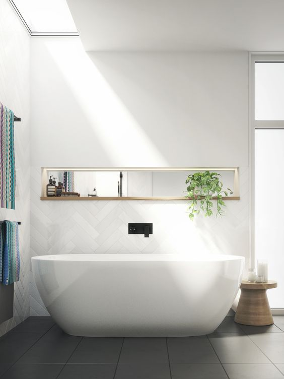 enjoy sunlight while having a bath with skylights that are placed above