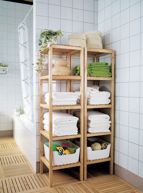 open shelving units by IKEA will be a great and comfy fit for a modern bathroom