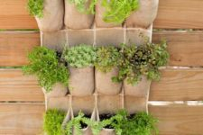11 pocket style hanging planters for herbs and greenery