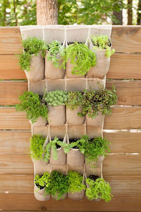 pocket style hanging planters for herbs and greenery