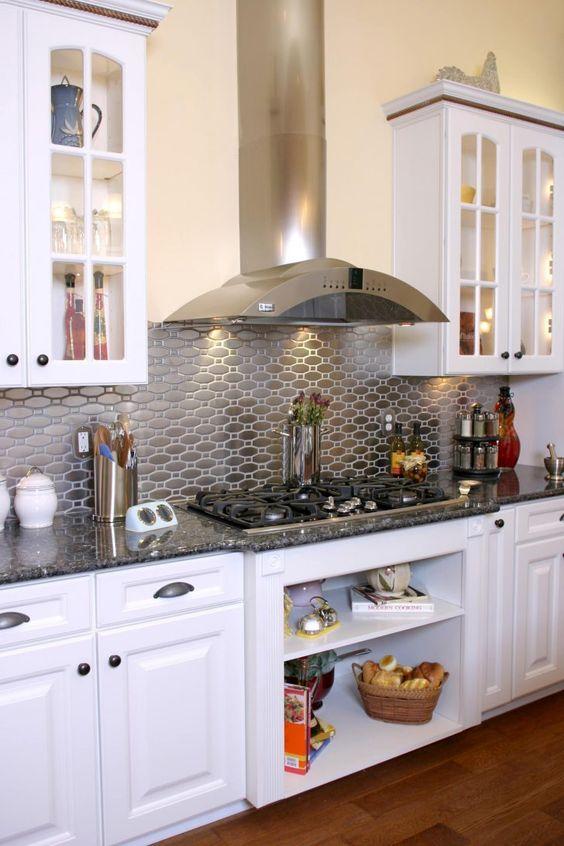 shiny metal backsplash for a modern kitchen