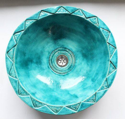 a porcelain Moroccan turquoise sink will ba show-stopper in your bathroom