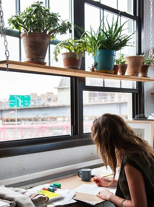 15 comfy windowsill desks for saving space shelterness - How to hang plants in front of windows ...
