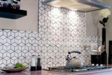 13 cube inspired white tiles with black grout stand out and make the kitchen look cooler