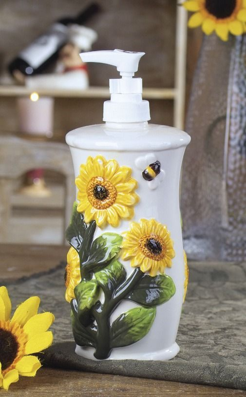 sunflower kitchen soap bottle for a cute and fun feel