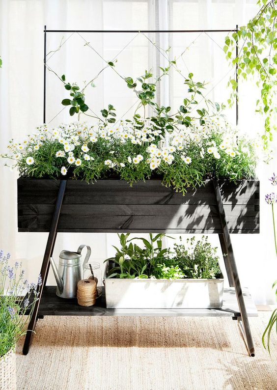 a comfy planter with a trellis and a shelf under it allows accomodating things or more planters
