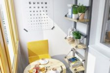 a modern industrial breakfast space with yellow chairs and an industrial spool table