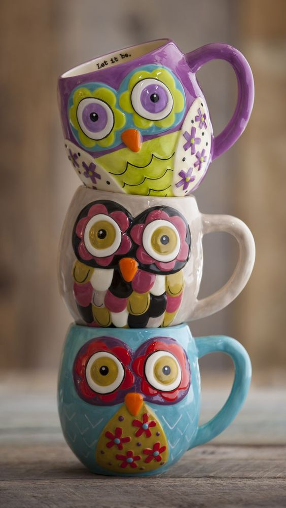 colorful owl mugs for zoy fall and winter tea times