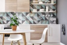 14 geo triangle tiles in grey, aqua and white adds a colorful splash to the neutral kitchen