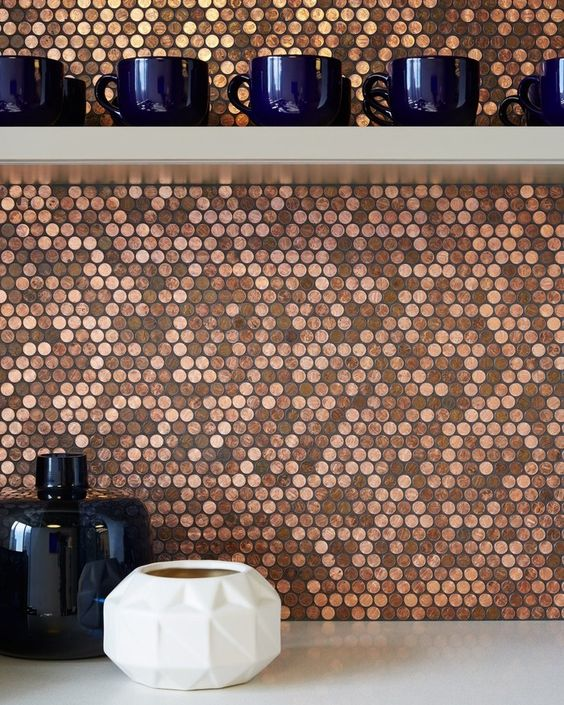 penny mosaic kitchen backsplash is a gorgeous DIY project